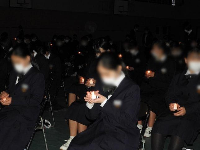 結城市立結城南中学校の立志式。将来の誓いを込めたキャンドルセレモニー
